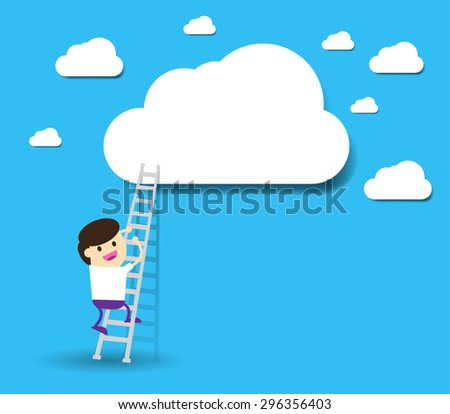 Bulb Idea Businessman climbing ladder to Success. Vector illustration. Businessman climbing to goal. Motivation concept to be successful. winner. finish. win. flat design. text box. speech bubble - stock vector