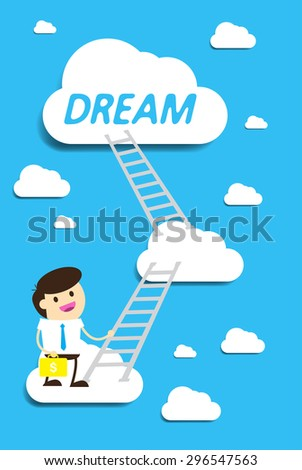 Bulb Idea Businessman climbing ladder to Success. Vector illustration. Businessman climbing to goal. Motivation concept to be successful. winner. finish. win. flat design. - stock vector
