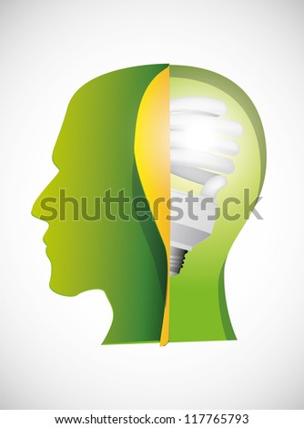 bulb in a head. Image contain transparency and various blending modes - stock vector