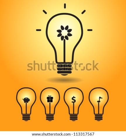 Bulb light idea vector - stock vector
