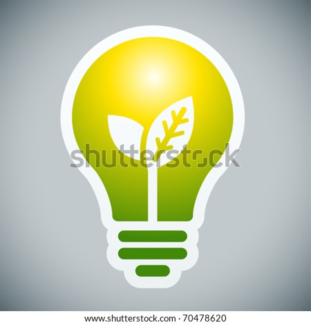 Bulb light with young shoots inside on grey background. - stock vector