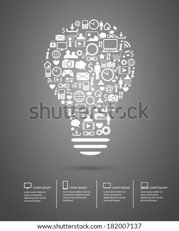 Bulb made from icons concept illustration eps10 - stock vector