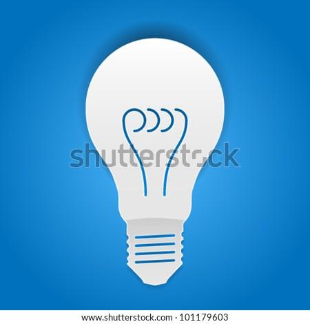 Bulb - paper cut design - stock vector