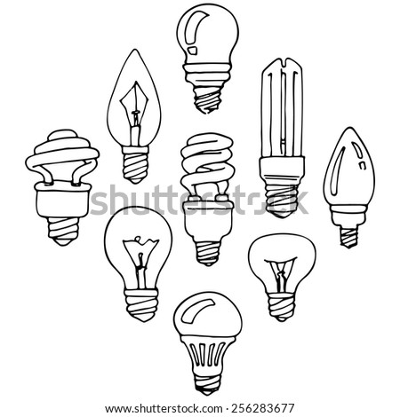 Bulb, set of hand-drawn design elements, different light bulbs, black contour on a white background. - stock vector