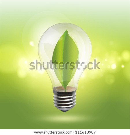 Bulb with a green sheet inside on a illumination background. Realistic vector design - stock vector