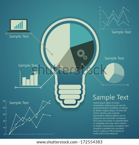bulb with business background, concept of success an idea - stock vector