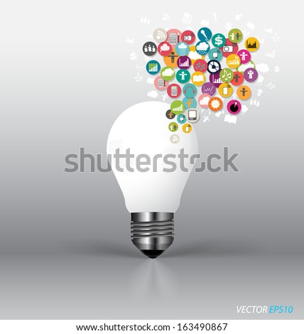 Bulb with cloud of colorful application. Vector illustration. - stock vector