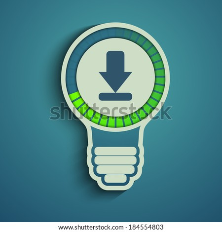 Bulb with download arrow progress bar. waiting for download. - stock vector