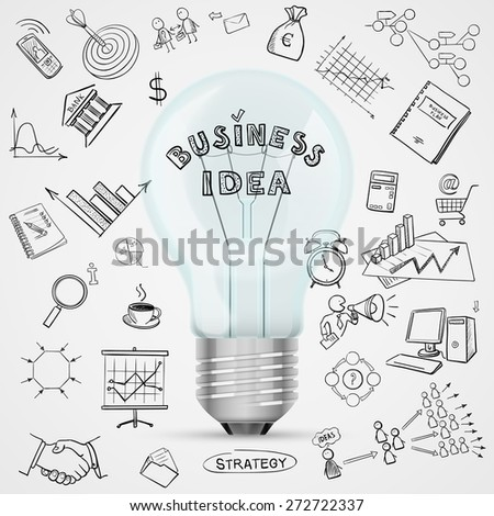 bulb with drawing business success strategy plan idea, excellent vector illustration, EPS 10 - stock vector