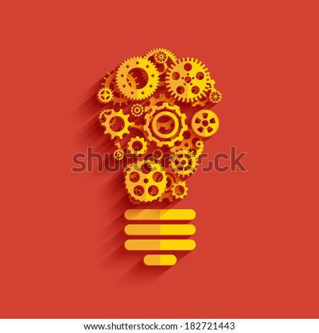 Bulb with gears and cogs. Business teamwork concept. Vector Illustration EPS10. - stock vector