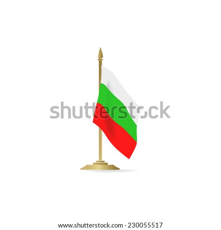 Bulgaria flag standing isolated on white background - stock vector