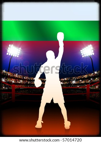 Bulgaria Flag with Boxer on Stadium Background Original Illustration - stock vector