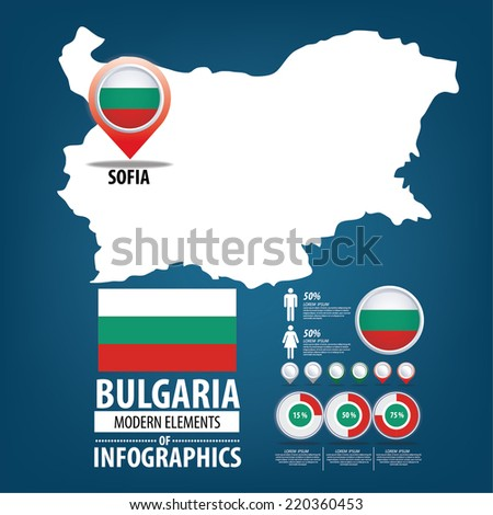 Bulgaria vector set. flags and icons isolated on white background. - stock vector