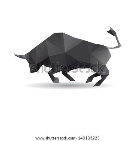 Bull abstract isolated on a white backgrounds - stock vector