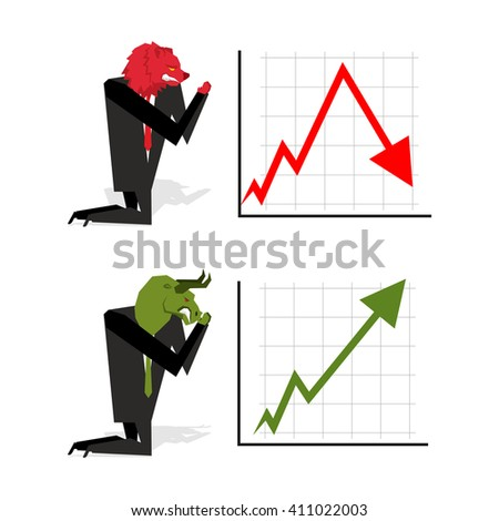 Bull and Bear pray to bet on stock exchange. Green up arrow. Red down arrow. Worship of money. Prayer quotes. Trader kneeling before graph. Allegory illustration for magazine business - stock vector