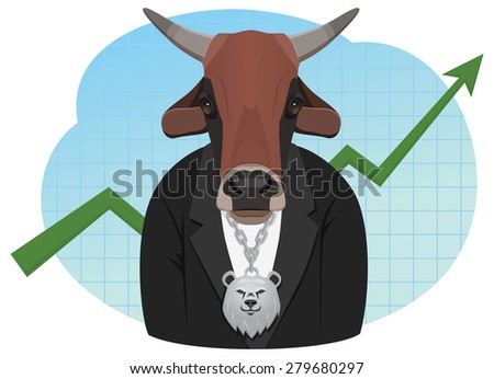 Bull businessman with a bear pendant is standing on the graph background. Bull market. - stock vector