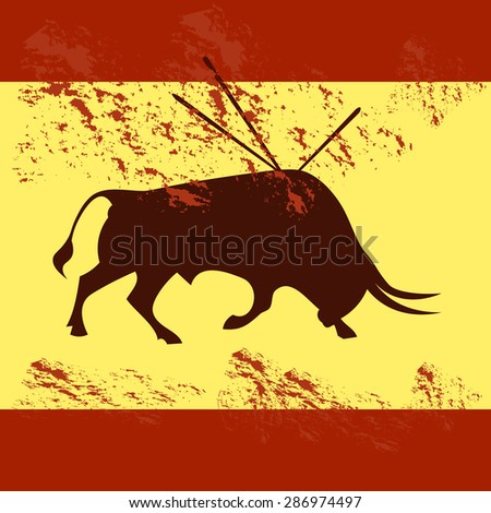 Bull fighting, cruelty to animals - stock vector