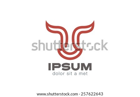 Bull Head Logo design line art vector template. Stock Exchange strategy logotype concept icon. Symbol of Power, Strength. - stock vector