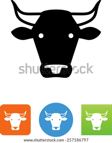 Bull's head symbol for download.  Vector icons for video, mobile apps, Web sites and print projects. - stock vector