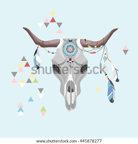 Bull Skull, boho style, vector symbol, illustration - stock vector