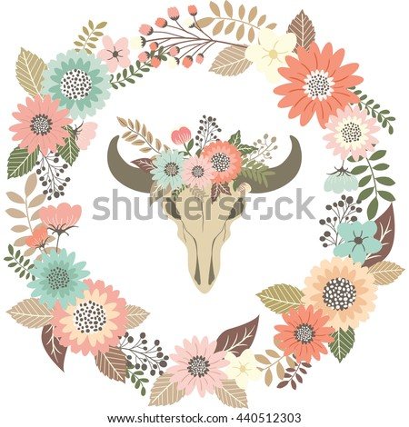 Bull Skull Floral with Wreath Laurel.Tribal Animal Skull.Wedding Invitation. - stock vector