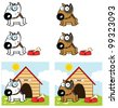 Bull Terrier Dog Different Color. Vector Collection - stock vector