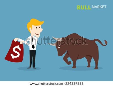 bull treading on the stock market. - stock vector