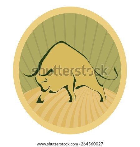 Bull yellow design element. Label. Vector illustration. - stock vector