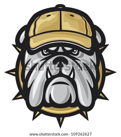 Bulldog head and baseball cap (angry bulldog, bulldog vector illustration) - stock vector
