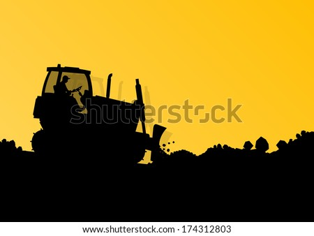 Bulldozer loader tractor at industrial construction digging site landscape vector background illustration - stock vector