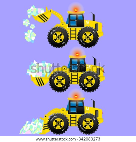 Bulldozer yellow performs different functions your bucket. The bucket hoisted. Bucket straight. The bucket is lowered. Raises load. It carries the load. Unload cargo. - stock vector