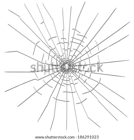 Bullet hole in glass - stock vector