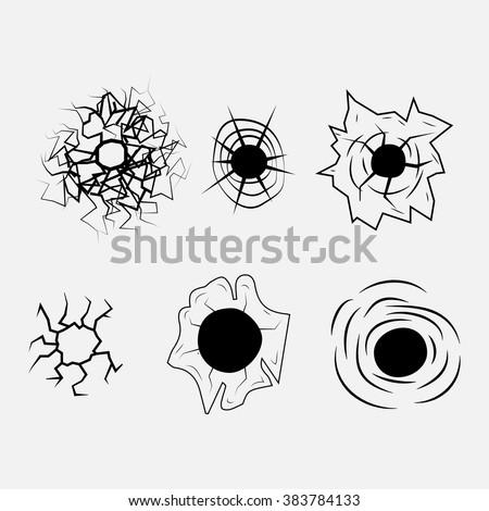 Bullet Hole Vector - stock vector