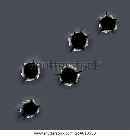 Bullet holes - stock vector