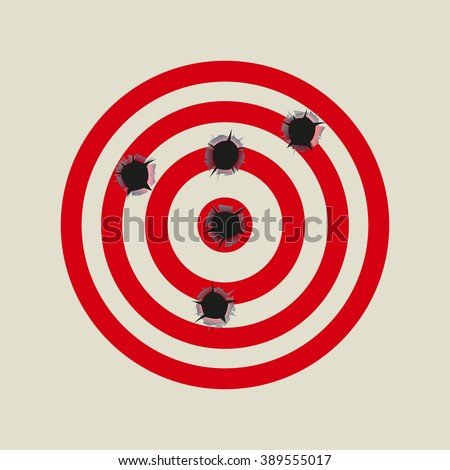 Bullet holes in the target. Vector illustration.  - stock vector