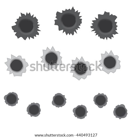 Bullet holes vector illustration isolated on a white background - stock vector