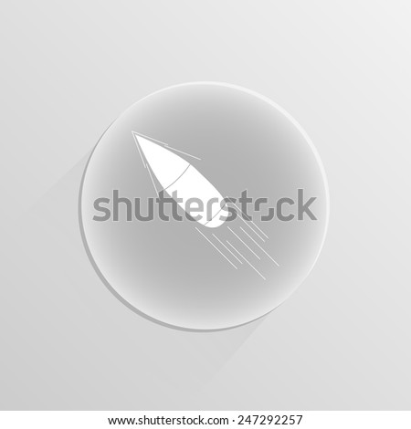 Bullet icon on a white button with shadow - stock vector