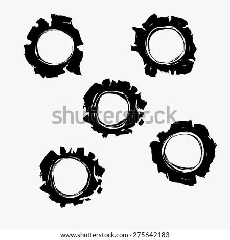 Bullets holes in background. Bullet holes Damage, Bullet hole set, Bulletholes vector illustration - stock vector