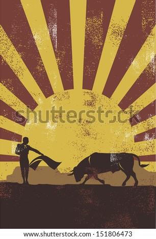 Bullfighting in Spain poster, vector - stock vector