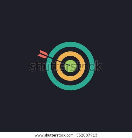 bullseye Color vector icon on dark background - stock vector