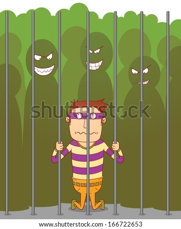 Bullying in a jail - stock vector