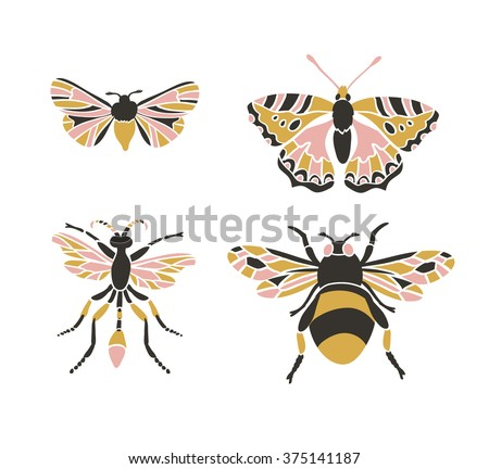 Bumblebee, butterfly, mol, apanteles. Insect icons, vector set. Abstract triangular style.  - stock vector
