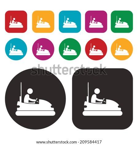 Bumper car icon / dashing car icon / dodgem car icon / amusement ride icon - stock vector