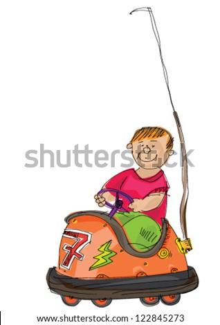 Bumper car with boy inside - cartoon - stock vector