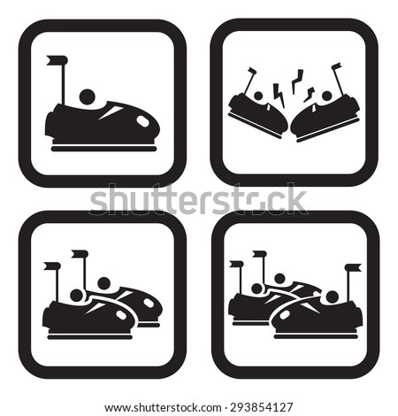 Bumper cars or dodgem icon in four variations - stock vector