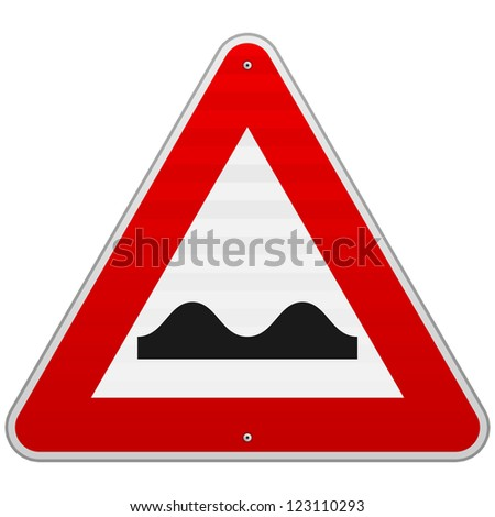 Bumpy Road Sign - European red triangle sign with bumps symbol - stock vector