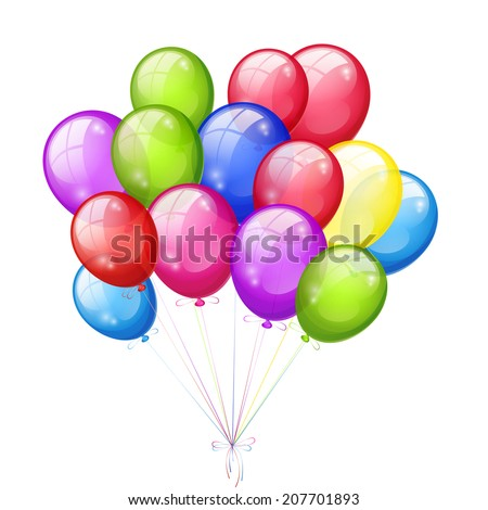 Bunch of colored balloons isolated on a white background. Vector illustration - stock vector