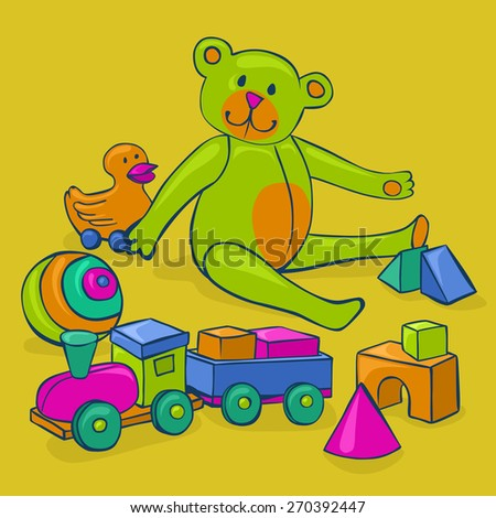 bunch of colorful, cute, classic kids toys - teddy bear, duck on wheels, building blocks, ball and wooden train - stock vector