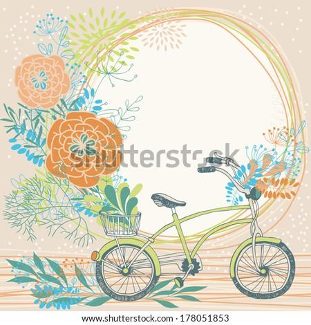 Bunch of flowers in bike basket - stock vector