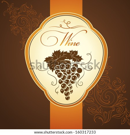 Bunch of grapes for labels of wine  - stock vector